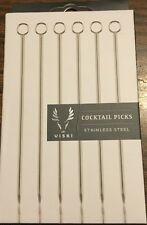"Viski Stainless Steel Martini Cocktail Appetizer Picks 6 Set 4 1/4"" Point End"