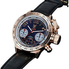Mens Chronograph Watch Black Leather Strap Rose Gold Case Big Dial Reloj Hombre