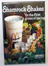 "Vintage McDONALD'S SHAMROCK SHAKES 2"" x 3"" Fridge MAGNET Art Fast Food Hamburger"