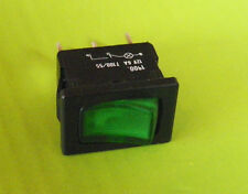 *NEW* BLACK ON/OFF MINI SWITCH 12V6A T100/55 WITH GREEN LIGHT 3 PRONG RV ROCKER