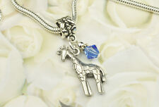 Blue Giraffe Dangle Charm Bead w Swarovski Elements European Style