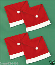 Set/4 Felt Holiday Santa Claus Hat Chair Back Covers w/pom pom 20x27 NIP