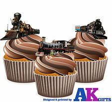 Vintage Train Steam Engine Birthday Party 12 Cup Cake Toppers Edible Decorations