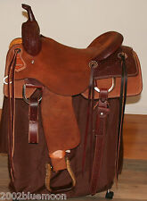 "Jays Custom 16"" Cutting Saddle, 16"" Hermann Oak Leather Jeremiah Watt Conchos"