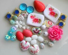#1642 Vintage Assemblage Lot Beads Flowers Shabby Floral Cabochons Chic Destash