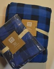 2Pcs Pottery Barn Teen Fleece Duvet Twin & 1 Sham Std Buffalo Checked Check Blue