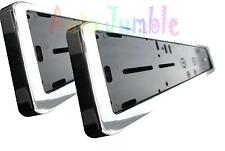 2X plastic chrome car van number plate surrounds trim holder frames protectors