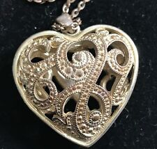 """Vintage Filigree Cage Silver Tone Heart Long Pendant Chain  Necklace 44"""""""