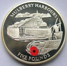 Gibraltar 2004 Mulberry Harbours 5 Pounds Silver Coin,Proof