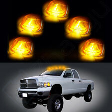 5X Roof Light Cab Marker Amber Cover +5X T10 White LED Bulb for Ford F-450 E-550