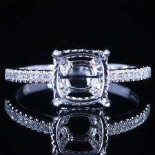 SILVER 925 8MM CUSHION PAVE DIAMOND ENGAGEMENT&WEDDING SEMI MOUNT RING