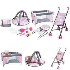 Baby Doll Stroller Nursery Set Girl Toys Pink Accessories Fun Toddler Playset