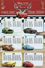 CARS FILMPOSTER LEARN YOUR TIMES TABLES - PIXAR