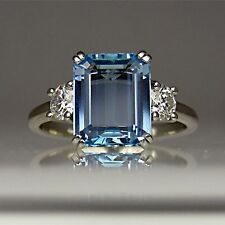 Certified 14k White Gold 2 Ct Emerald Cut Aquamarine Diamond Engagement Ring