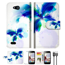 Blue Butterfly Wallet TPU Case Cover For Telstra 4GX Buzz -- A009