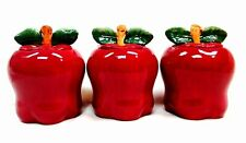 Tuscany Red Apple Ceramic 3-Piece Canister Set 6-1/4 87402 Kitchen Storage