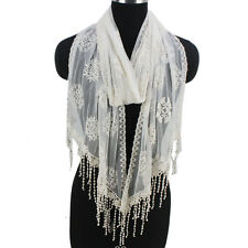 Women Fashion Long Scarf Floral Print Lace Fringed Solid Color Ladies Wrap Shawl