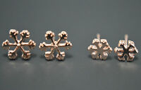 2 Pack Pair 14K/14ct Rose Gold Plated Snowflake Flower Stud Earrings Set Gift
