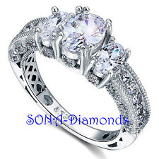 Ruth Vintage Oval Man Made SONA Diamonds SILVER 925 Gold Wedding Engagement RING