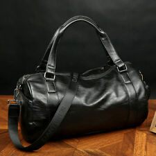 Black Men's Large Leather Vintage Travel Gym Bag Weekend Overnight Duffle Bags