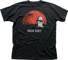 BAD DRUNK ROBOT Bender movie logo black cotton t-shirt 9888