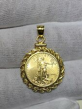 Standing Lady Liberty 5 Dollar 1/10 OZ .999 Fine Gold Coin Bullion Charm Pendant
