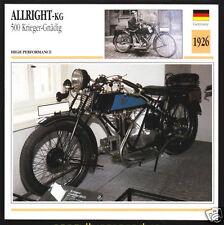 1926 Allright-KG 500 Kriegler-Gnadig 497cc Motorcycle Photo Spec Sheet Info Card