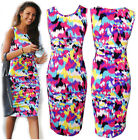 New Women Tie Dye Splash Print A-Line Pencil Dress Vest Sleeveless Party Dresses