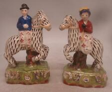 Staffordshire Pottery Figures - Pair of Man & Woman on Carousel Zebras