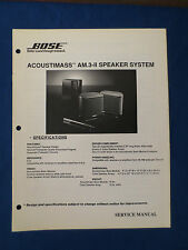 BOSE ACOUSTIMASS AM.3-II SPEAKER SYSTEM SERVICE MANUAL ORIGINAL GOOD CONDITION