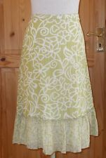BHS lime chartreuse green white SILK midi knee gypsy boho skirt floral 14 42