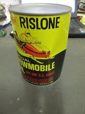 DAMAGED/DENTED FULL VINTAGE RISLONE SNOWMOBILE OIL OLD 1965 1QT METAL CAN SHALER