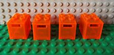 4 recipiente LEGO Letter Post Mail Safe Box Trans Neón Naranja 4345/4346