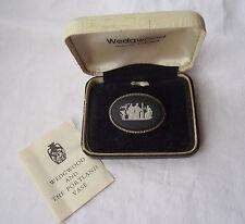 Beautiful Vintage Wedgwood Jasperware Brooch with Silver Mount in Original Box