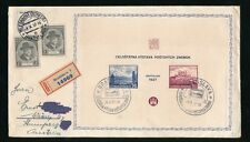 CZECHOSLOVAKIA 1937 EXHIBITION SHEET FIRST DAY COVER REGISTERED + TELEGRAFNA PMK