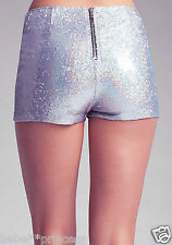 NWT bebe silver white saprkle sequin zip back short mini sexy L 10 party club