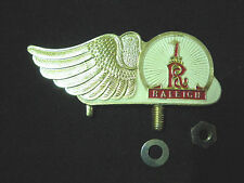 Vintage RALEIGH  Bicycle front mudguard Emblem Badge Bike GOLD/WHITE NOS 1950s