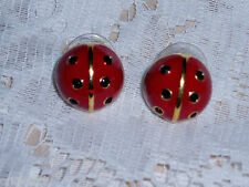 Adorable JOAN RIVERS Large RED Signature LADYBUG Pierced Earrings NEW