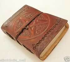 Handmade Leather Journal Blank Diary Pentagram Grimoire Wiccan Book of Shadows