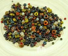 Anissa Exclusive Picasso Mix Czech Glass Seed Beads Rustic Orange Multicolor Str