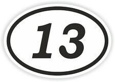 13 THIRTEEN NUMBER OVAL STICKER bumper decal car motocross motorcycle Aufkleber