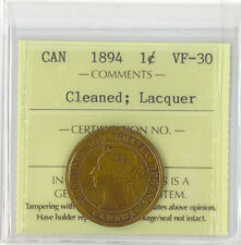 Canada 1894 1 Cent VF-30 Cleaned Lacquer XNE 879