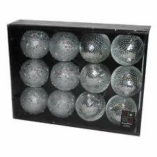 Box of 12 Bead & Sequin Christmas 80mm Baubles - Silver