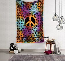 Large Indian Tie Dye Tapestry Hippie Wall Hanging Peace Sign Decor Art Bedding