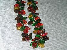 Vintage W. Germany Carved Glass & Plastic Red & Green Leaves & Berries Beaded