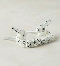 NWT Anthropologie 2 White Fabled Fauna Rabbit Handle Pull Knob Bunnys SET