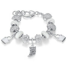 European 925 Silver White Crystal Charms Bracelets fit Women Original Jewelry