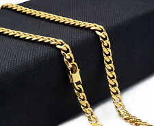 """14k Gold Plated Stainless Steel Heavy Hip Hop 7mm 30"""" Miami Cuban Chain Necklace"""