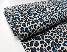 by METRE STRETCH FABRIC animal BLUE LEOPARD print punk rockabilly psychobilly