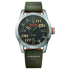 HUGO BOSS MEN'S 44MM GREEN CALFSKIN BAND STEEL CASE QUARTZ WATCH 1513415